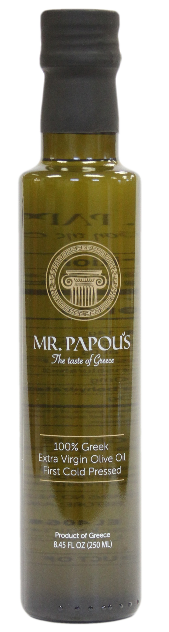 Mr. Papou's | 250 ml - 8.5 fl oz | Extra Virgin Olive Oil | First Cold Pressed | Family Owned | Harvested in Corinth, Greece |