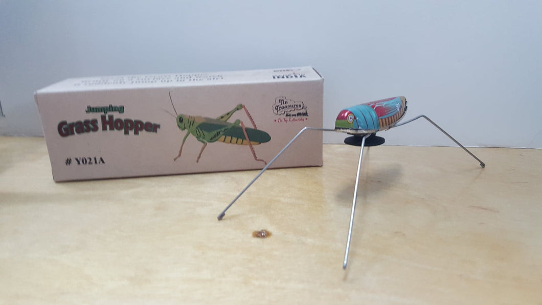 Vintage Tin Jumping Grasshopper