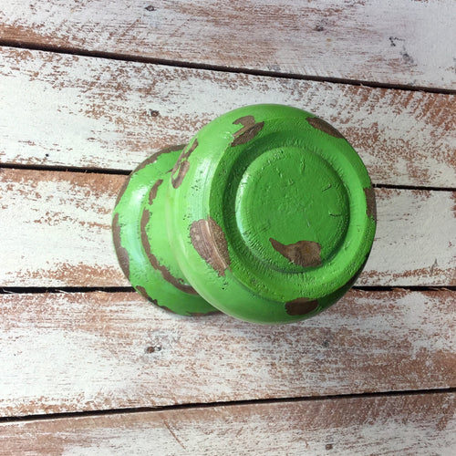 Gorgeous chunky wooden wall hook made to resemble a large door knob, painted with a distressed green finish.