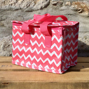 Foil lined, insulated lunch bag with a Pink Chevron print design, carry handles and zip closure.