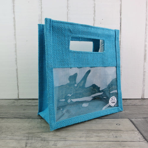 turquoise two jar jute gift bag with display window