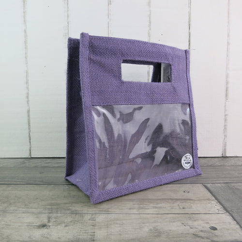 lilac two jar jute gift bag with display window