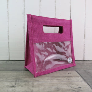 cerise pink two jar jute bag with display window