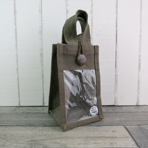 olive green jute bag with coconut button and display window