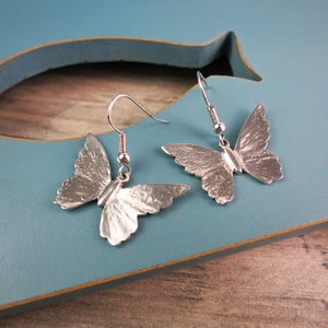 pewter Butterfly earrings on silver plated stems