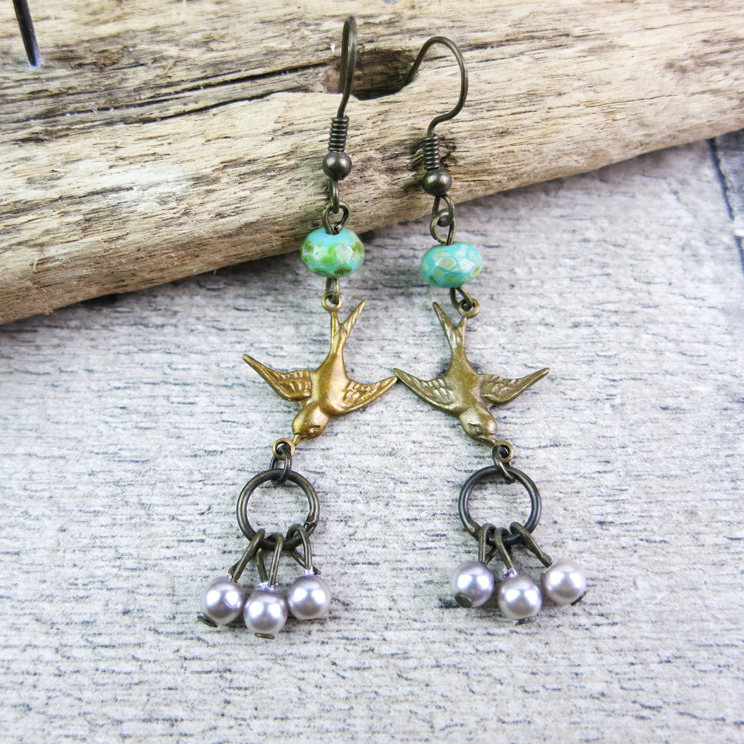 vintage style drop earrings with Swallows and turquoise and pearl beads