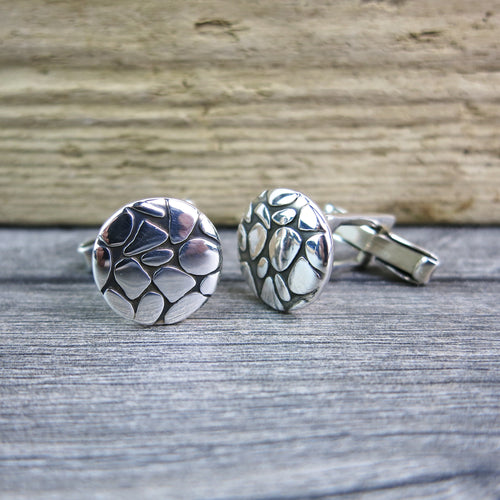 Sterling silver cufflinks with mosaic pebble design