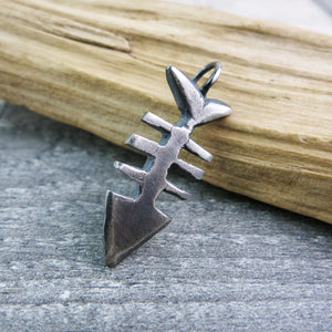 oxidised silver fishbone pendant