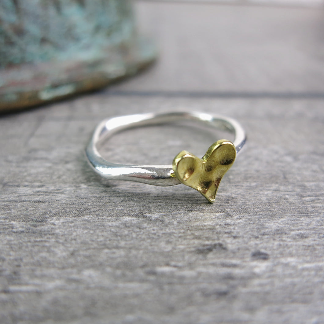 hammered brass heart on sterling silver organically shaped ring