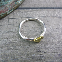 view from above showing organically shaped silver ring