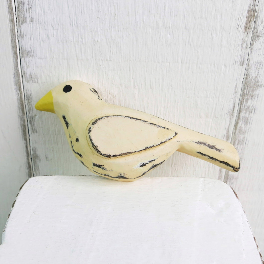 cream painted wooden bird magnet