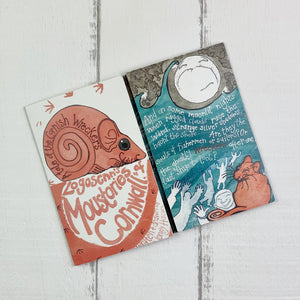 Illustrated story card with a tale of the Cornish Wreckers