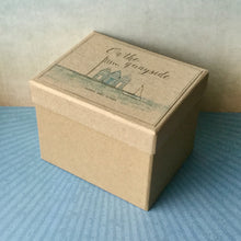 Presentation box for wooden beach hut and sail boat scene, from East of India.