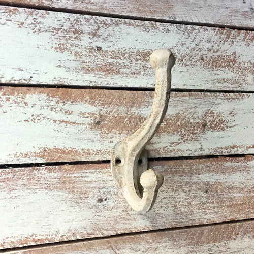 Stone coloured Vintage style metal coat hook painted with a distressed finish.