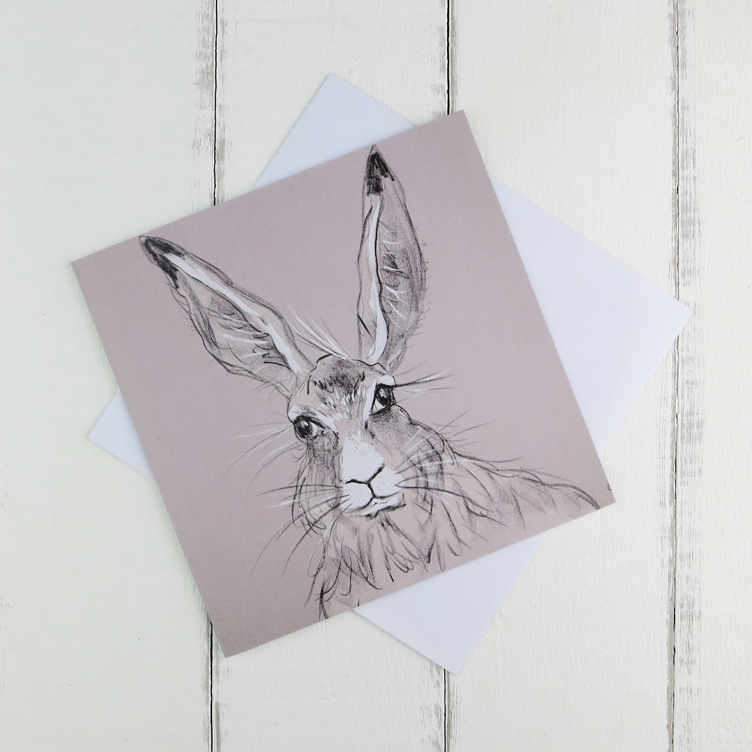 Illustrated Hare greetings card by Caroline Walker