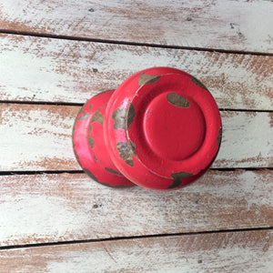 Gorgeous chunky wooden wall hook made to resemble a large door knob, painted with a distressed red finish.