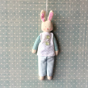 Cotton bunny decoration with blue dotty outfit.