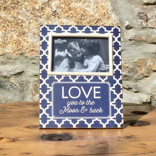 Wooden photo frame in blue and white with love you to the moon & back.