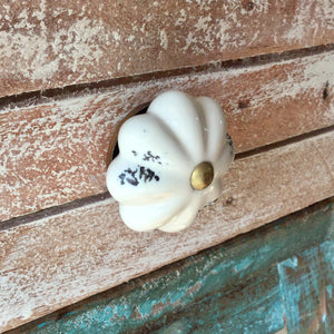 rustic style, natural cream ceramic drawer pull.