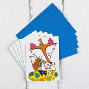 Pack of five thank you cards with a Fox print