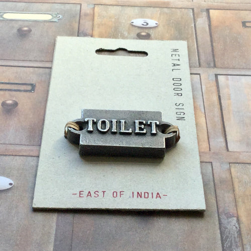 Small but chunky metal 'TOILET' door sign.