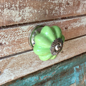 cheerful apple green ceramic drawer pull.