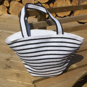 black and white striped beach bag with shoulder straps