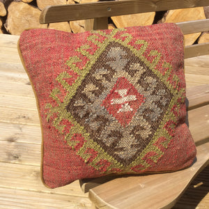 Square Kilim cushion in Autumnal colours
