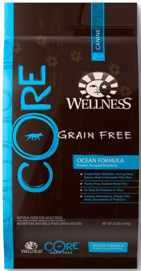 Wellness Core Natural Grain Free Ocean Whitefish, Herring and Salmon Recipe Dry Dog Food