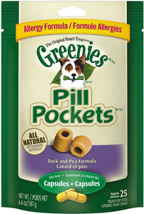 Greenies Pill Pockets Canine Roasted Duck and Pea Allergy Formula Dog Treats