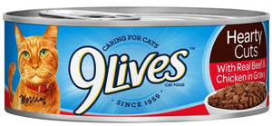9 Lives Hearty Cuts with Real Chicken Beef in Gravy Canned Cat Food