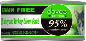 Dave's 95% Turkey and Turkey Liver Pate Formula Canned Cat Food