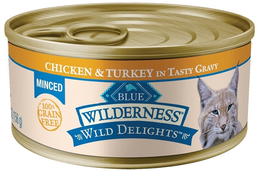 Blue Buffalo Wilderness Wild Delights Minced Chicken and Turkey Recipe Canned Cat Food