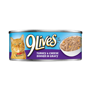9 Lives Turkey and Cheese Dinner in Gravy Canned Cat Food