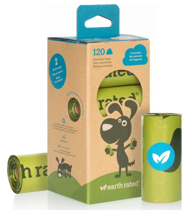 Earth Rated Unscented Dog Waste Bags, 8 Refill Rolls 120-Count