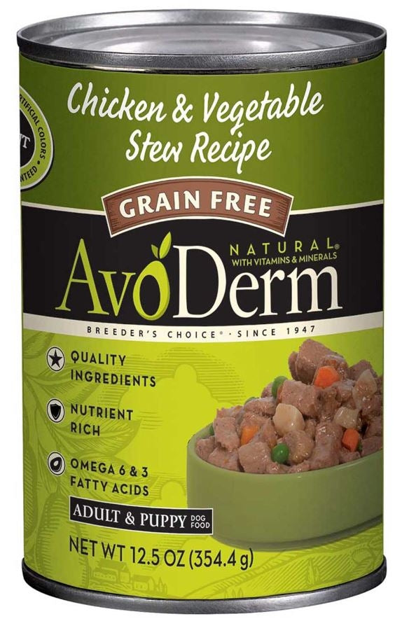 AvoDerm Grain Free Natural Chicken and Vegetable Stew Formula Canned Dog Food