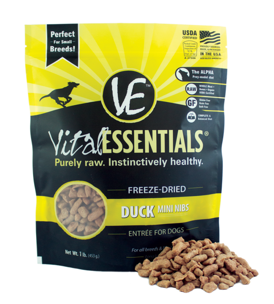 Vital Essentials Freeze Dried Grain Free Duck Mini Nibs Entree for Dogs Food