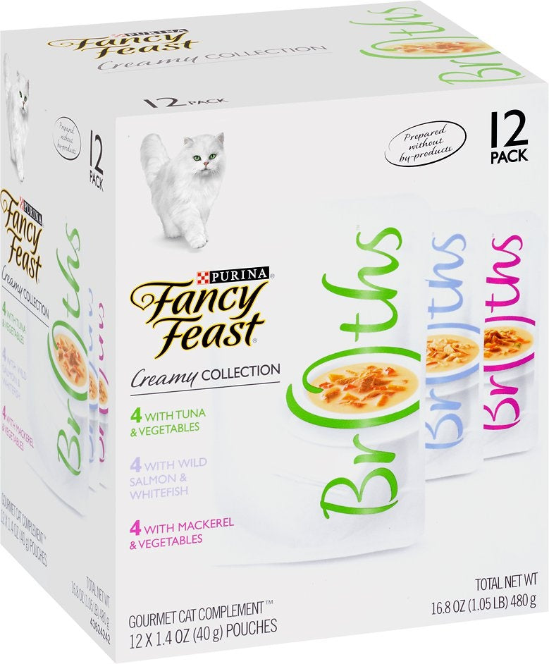 Fancy Feast Creamy Collection Broths Variety Pack Supplemental Cat Food Pouches
