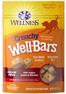 Wellness Natural Grain Free Wellbars Crunchy Yogurt, Apples and Bananas Recipe Dog Treats