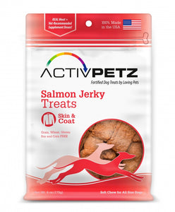 Loving Pets AcitvPetz Grain Free Salmon Jerky Skin and Coat Health Dog Treats