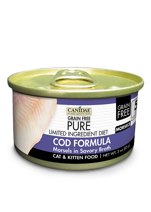 Canidae Grain Free PURE Limited Ingredient Diet Cod Morsels in Broth Recipe Canned Cat Food