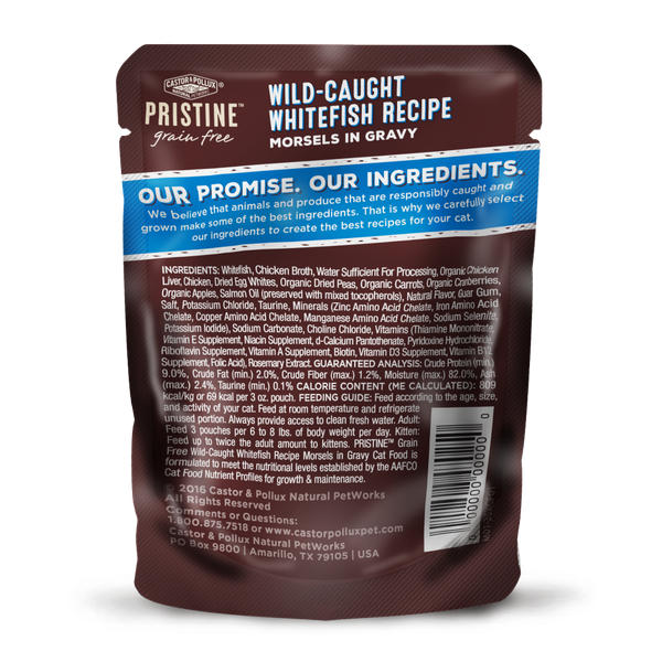 Castor and Pollux Pristine Grain Free Wild Caught Whitefish Morsels in Gravy Wet Cat Food Pouches