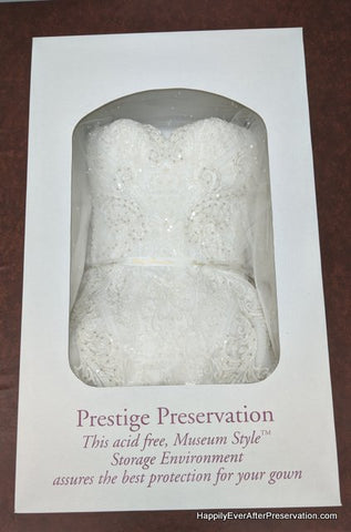 Sample of gown in preservation box | Happily Ever After Gown Preservation