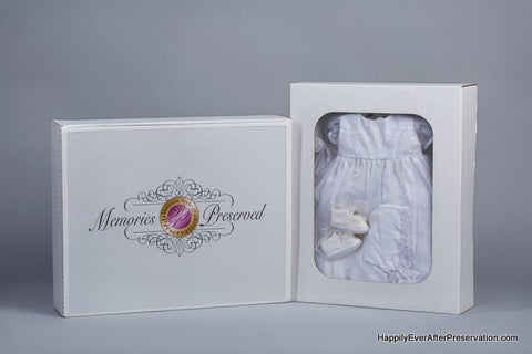 Happilyeverafterpreservation.com example picture of a gown in our memory box.