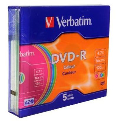 Confezione da 5 DVD-R 16X Verbatim Color da 4,7 GB con custodia SLIM