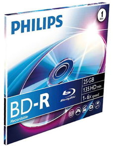 1 BD-R 6X Philips da 25 GB con custodia JEWEL (disco Blu-Ray)