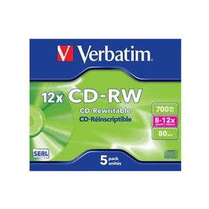 1 CD-RW 12X Verbatim da 700 MB con custodia JEWEL (riscrivibile)
