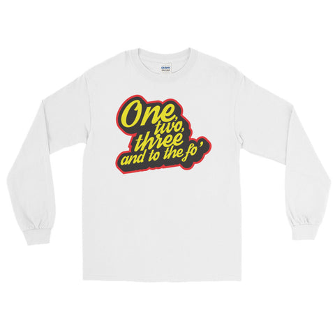 one, two, three and to the fo' dr dre and snoop dog hip hop long sleeve t shirt in white