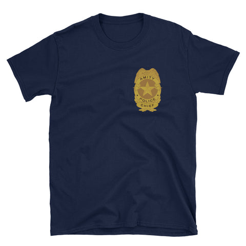 navy blue chief of amity police Jaws inspired movie t-shirts