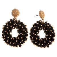 Black Beaded Circle Earring